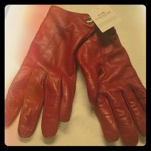 COACH red leather gloves cashmere lined